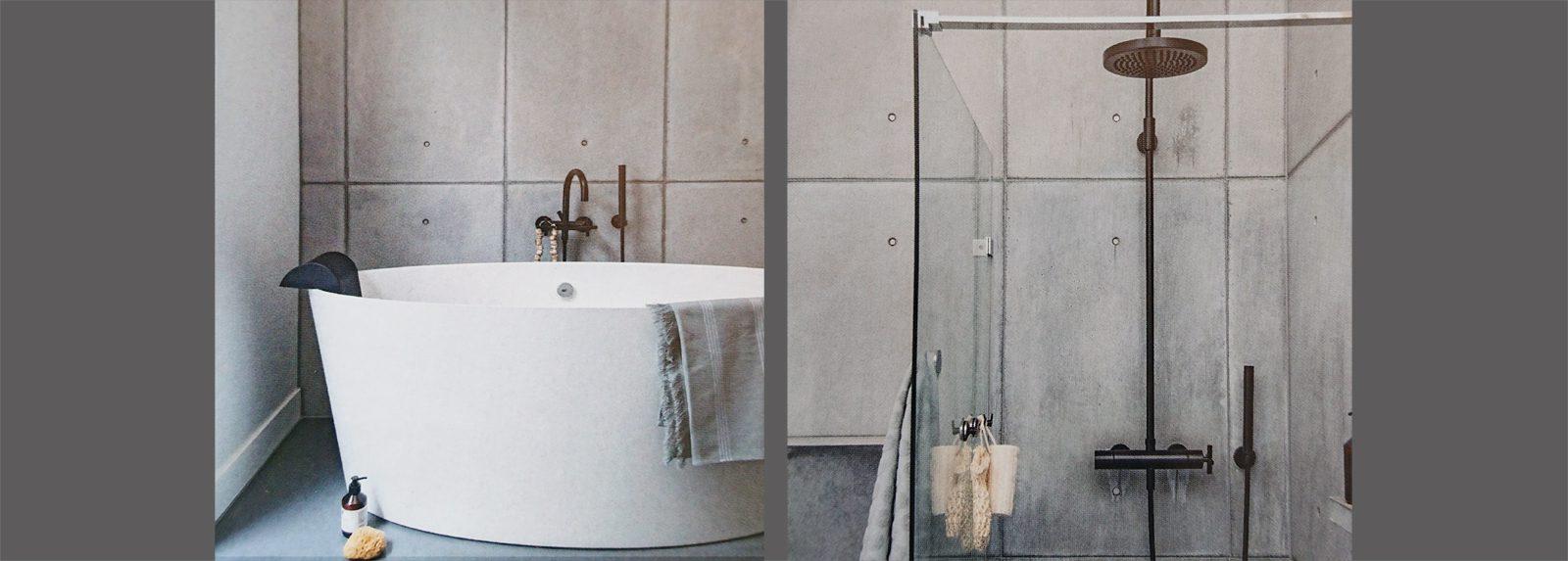 betonnen badkamer douchewand