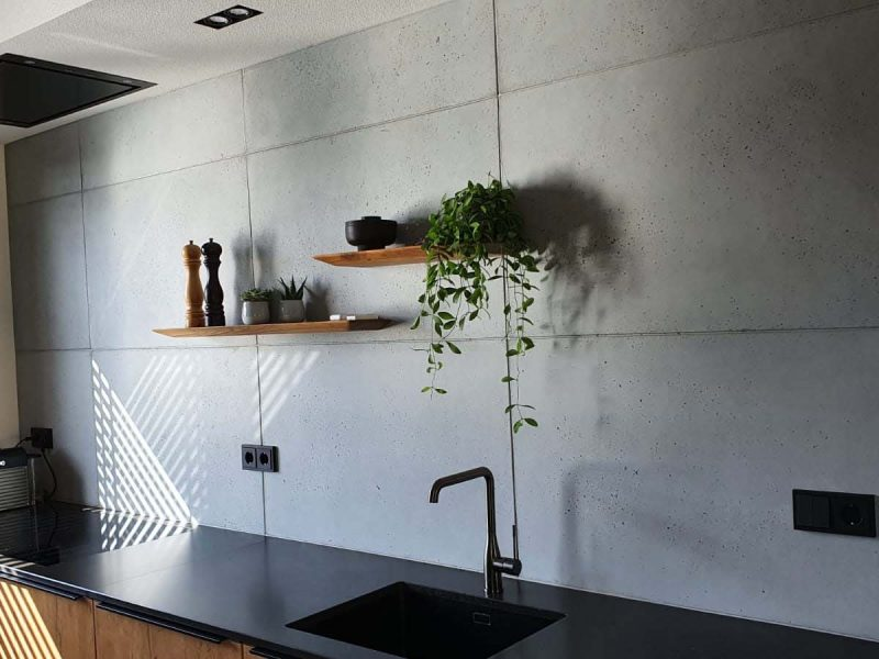 industriële betonnen muur keuken